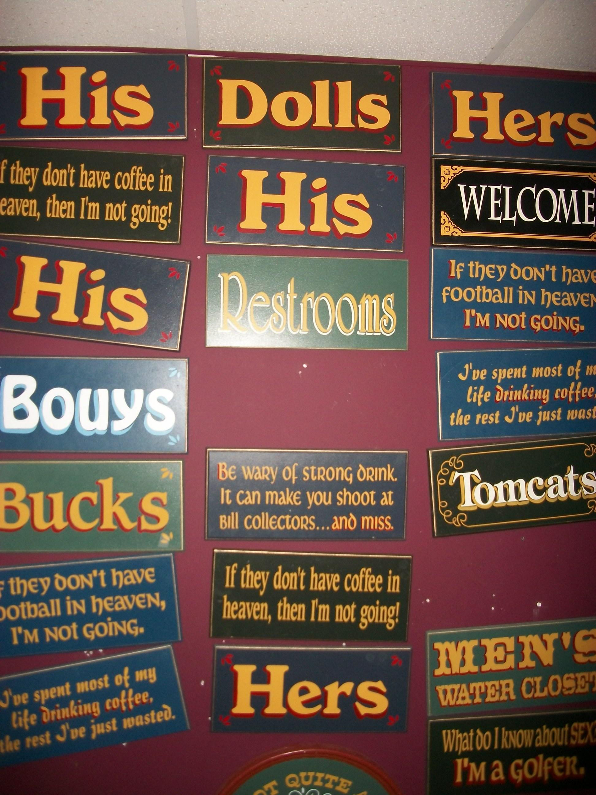 Assorted Bathroom Signs - Wood