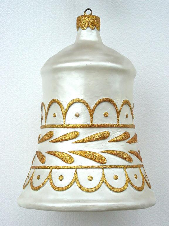 3' Ft White Bell with gold trim