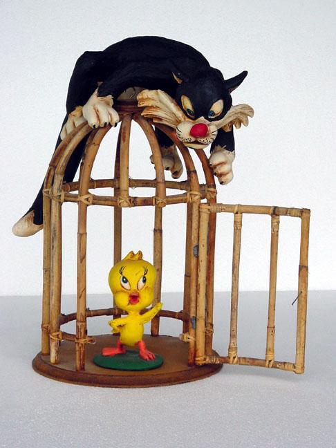 Sylvester and tweety in cage