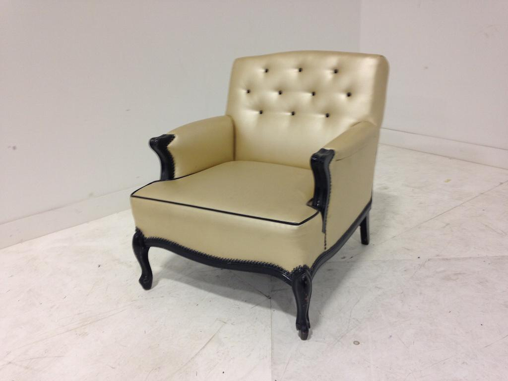 Leather tufted side chair