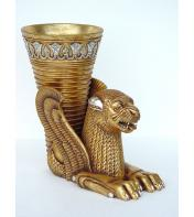 2' Egyptian Lion w Vase
